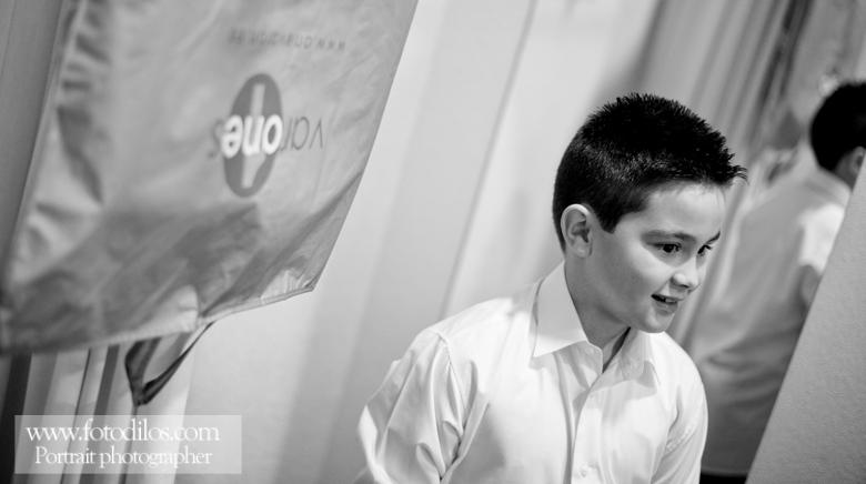 Fotografía profesional en blanco y negro de comunión